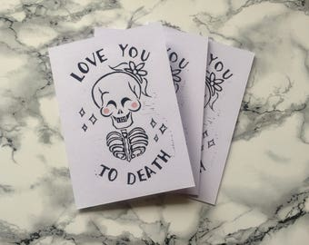 Love you to Death Linoprint Card