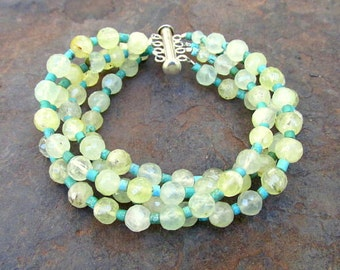 4 Strand Prehnite Cuff Bracet with Turquoise Beads All Natural Genstones w Sterling Clasp