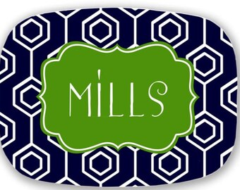 Personalized Melamine Platter-monogram Easter spring summer tray