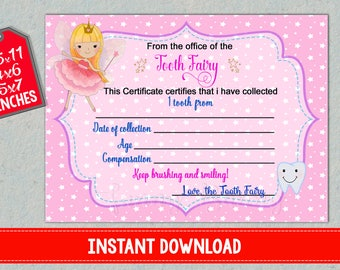 tooth fairy certificate first lost teeth report printable baby
