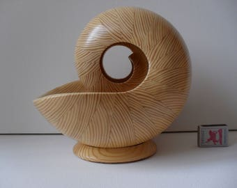 Sculpture Nautilus Wooden Shell  - 8BM