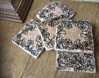 Zentangled Stone Coasters
