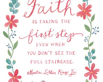 Martin Luther King, Jr. Quote Art Print - 5 x 7 or 8 x 10 - MLK Inspirational Art Print, Faith Art Print, Watercolor Wreath, Faith Quote Art