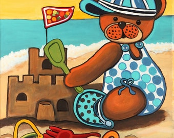 Baby bear to beach, canvas Acylique 14x18po naive art work.