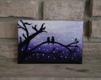 Love Birds Small Oil Painting