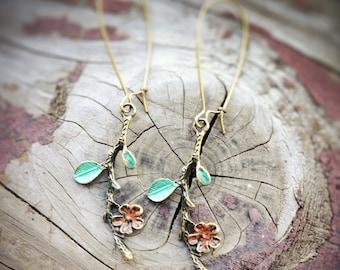 Flower Branch Earrings, hand painted