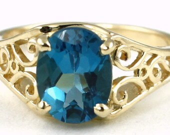 London Blue Topaz, 18KY Gold Ring, R005