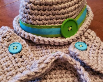 Newborn baby Fedora with adjustable neckbow tie and adjustable diaper cover