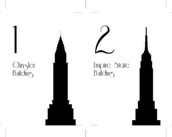 Unmounted NYC Table Number New York City Wedding Decor Reception Sign Made to Order Over 80 available Landmarks