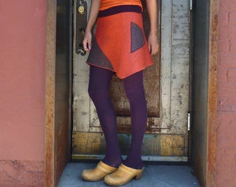 Womens Skirt, Felted Wool, Mini Skirt, Winter Fashion, Asymmetrical, Flared Skirt, Cute Skirt, Orange, Purple, Color Block, Pocket, Futurism