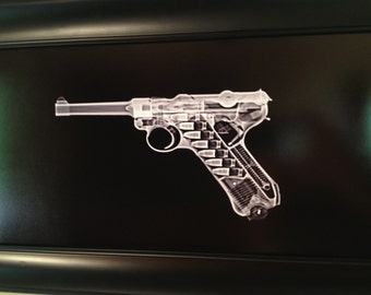 Luger P08 pistol CAT scan - ready to frame