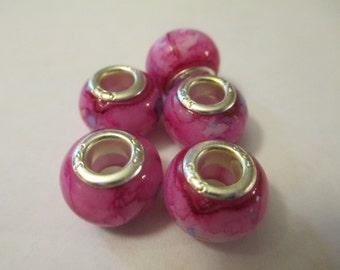 5 Pink Tye Dye Euro Beads Craft Supplies