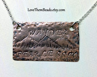 Copper Mountain Necklace Wander Fearlessly Inspirational Quote Personalized Hand Stamped Word Bar Pendant Necklace Jewelry by LoveThemBeads