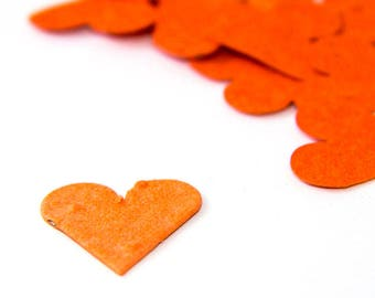 "200 Orange Seed Paper Hearts ""Let Love Grow"" Eco Wedding Favor Table Decoration Bridal Shower Favor Thank You Cards Invitation Party Favor"