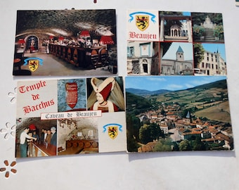 Lot five vintage postcards of Beaujeu, France