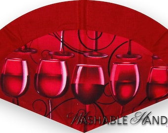 Washable Hand Fan High Inset Wine Glass in Red