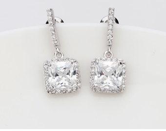 Bridesmaid Gifts | Bridesmaid Earrings | Bridal Earring | Bridesmaid Jewelry | Wedding Jewelry | Square Princess Cut Dangle Earrings