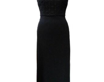 vintage 1990s CYNTHIA ROWLEY maxi dress / black / cutout top / spring summer / 90s dress / women's vintage dress / size 4
