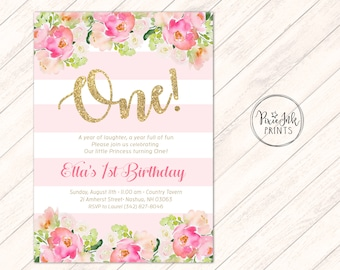 Pink & Gold First Birthday Invitation, Stripe 1st Birthday Invitation, Gold Accent, Girls 1st Birthday Invitation, Floral Birthday Invite,