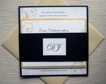 Gold and Black Wedding Invitation, Unique Flourish wedding invitations, Elegant wedding invitation, Romantic Wedding Invite -Deposit