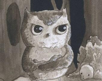 Grumpy Owl - Original Watercolor - Mab's Drawlloween Club Day 20