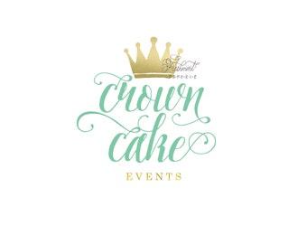 Custom logo - crown logo  - calligraphy logo - business logo - mint and gold logo -  freshmint paperie