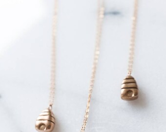 Beehive Necklace Bronze Gold Color