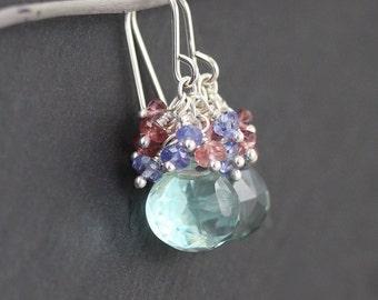 Prasiolite, Tanzanite, Pink Tourmaline & Sterling Silver Earrings. Green Amethyst Cluster Earrings. Multi Gemstone Bead Earrings. Jewelry