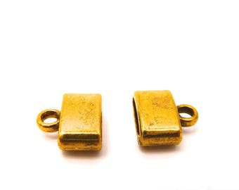 Tip gold tone metal for leather or other 10 mm, set of 10 Pcs