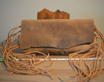 Distressed Leather Clutch with Fringe - D