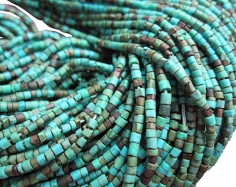 Turquoise Tubes, Turquoise Heishi, Turquoise Beads, Blue Green Turquoise, SKU 3878A