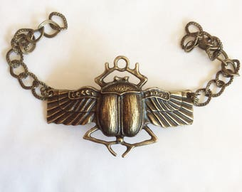 Scarab winged beetle bracelet Egyptian Egypt bronze curb chain 20cm