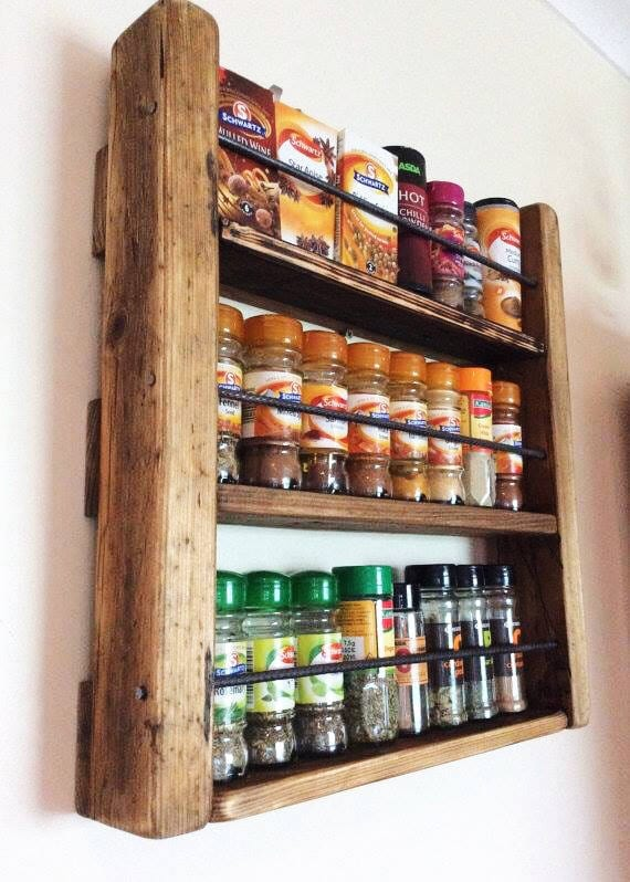 Spice Rack   Wooden Spicerack   Kitchen Storage   Rustic Spice Rack   Wood  And Metal   Spice Jar Storage   Rustic Wood   Reclaimed Wood