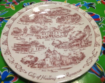 Vintage ceramic souvenir plate- Old Monterey, City of History and Romance