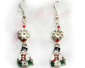 Snowman earrings - Holiday Fun Beaded earrings - Christmas Jewelry - Christmas  earrings - Christmas party Earrings,-  # J 7