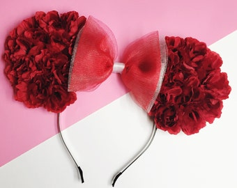 Red Rose Flowers Disney Minnie Mouse (Mickey Mouse) Ears with Black Sparkly Tulle Bow