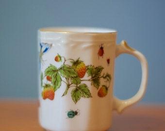 Handpainted Vintage Ardalt Butterfly Ladybug Mug