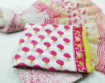 Beautiful cotton set for top bottom and chiffon stole