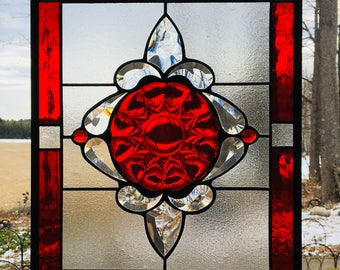 Stained glass panel Ruby Reds with clear bevels
