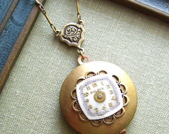 Steampunk Clearance Sale- Steampunk Locket Necklace, Bar Chain with Lovely Patina, Shadows of Time