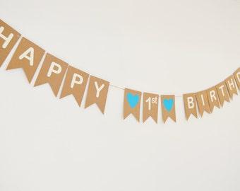 Happy 1st Birthday Banner, Birthday Bunting, Boys Birthday Party, Girls Birthday, First Party Decoration