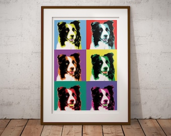 Border Collie Pop Art poster