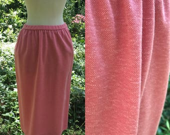 Bleyle Pencil Skirt // Vintage Pencil Skirt // Coral Pencil Skirt // Small Skirt // Skirt with Pockets // Flax-Linen Skirt