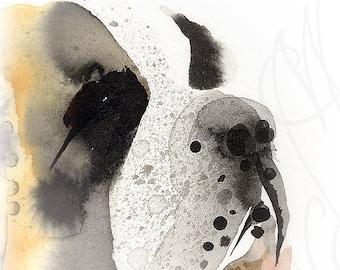 "Martinefa's Original watercolor and Ink Dog ""Saint Bernard"""