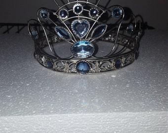 Silver  and blue wire crown centerpiece 10 inch