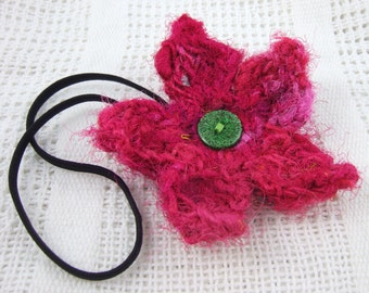 Pink silk flower dreadlock hair tie/flower headband