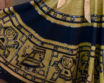 Vintage 1950s Hand Painted Sequined Mexican Circle Souvenir Skirt - Size Medium