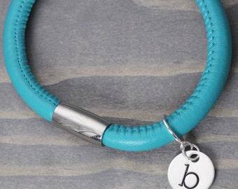 Turquoise Leather Bracelet, Charm Bracelet, Leather Wrap Bracelet, Handstamped Jewelry, Handstamped Bracelet, Hand Stamped