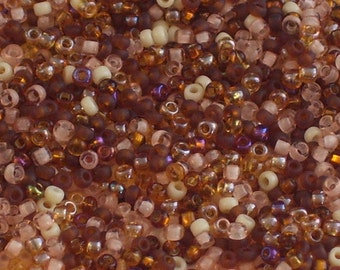 Woodland Mix Seed Beads Size 11 // Assorted Brown, Peach, Cream Seed Beads 11/0