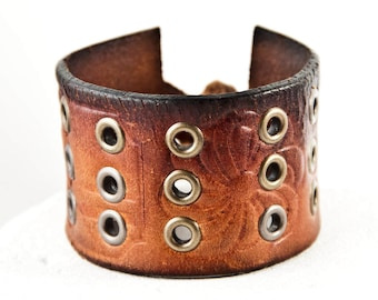 Vintage Leather Bracelet Cuff Distressed Brown Leather